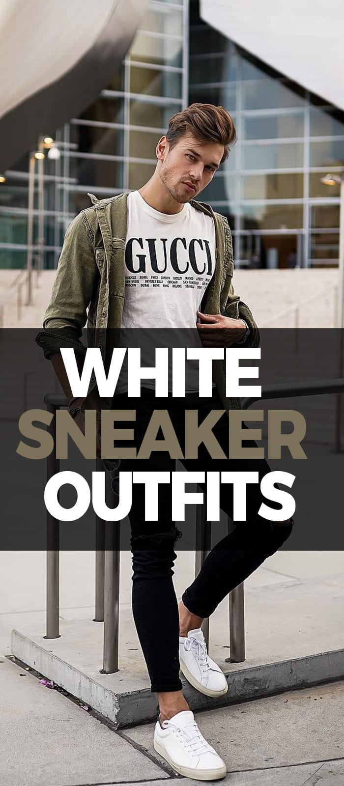 Casual undershirt and Black Ripped Denim,White Sneaker Outfits