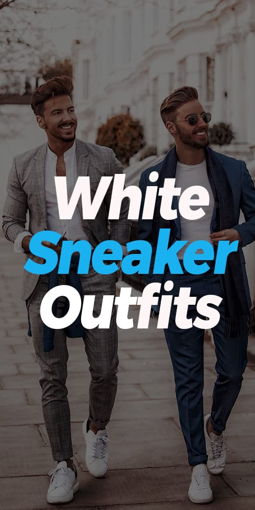 Grey and Blue Suits with White Sneaker Ideas