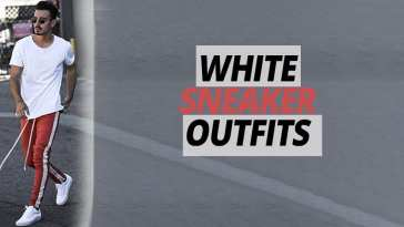 Red joggers,white t-shirt,white sneaker ideas for men