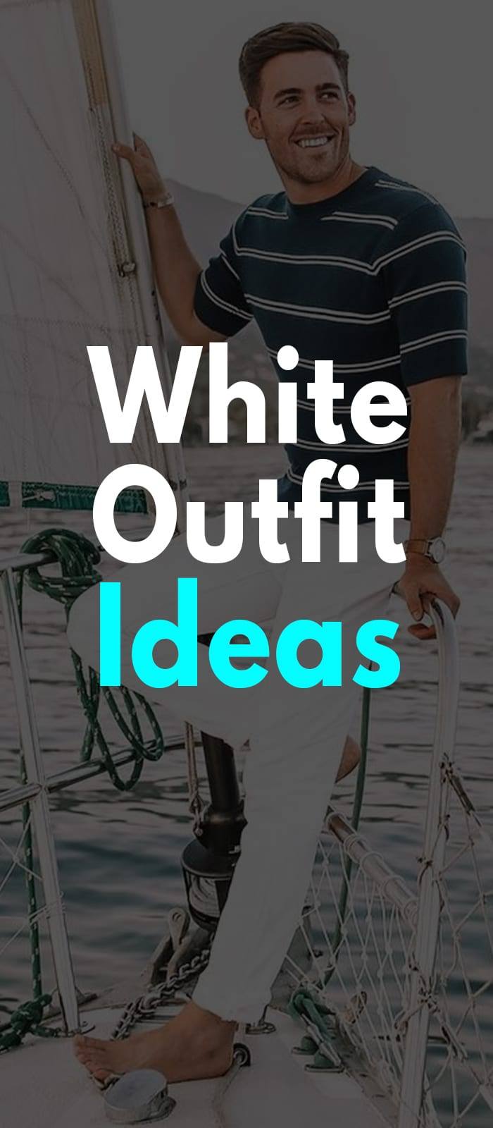 Striped t-shirt and white pants outfit ideas