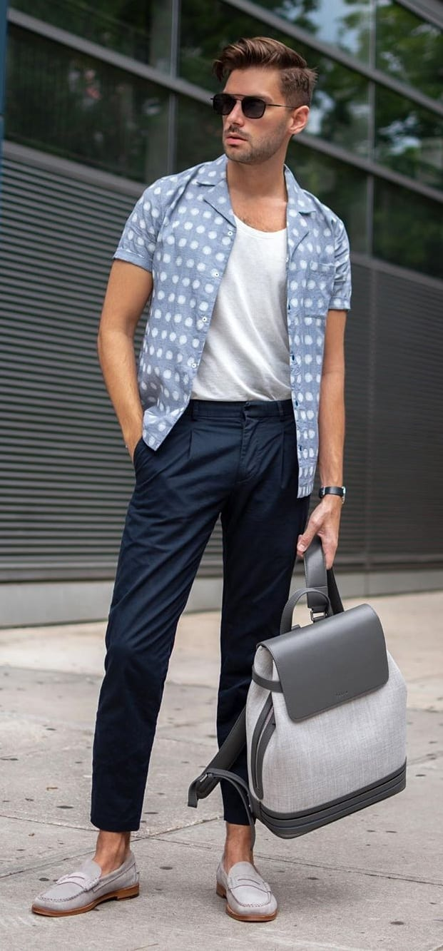 White Undershirt, Pastel Blue Shirt and Blue Trousers