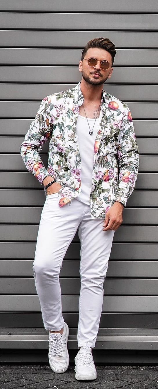 White Undershirt. floral Shirt and White Jeans