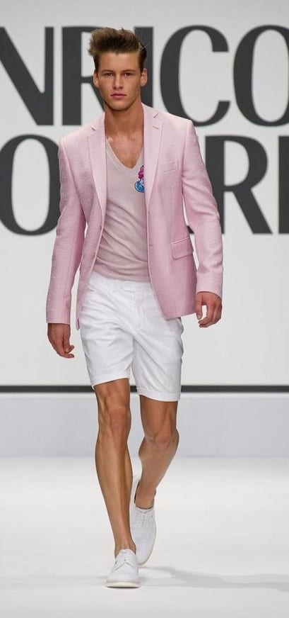 Baby Pink Blazer and Tshirt with White Shorts