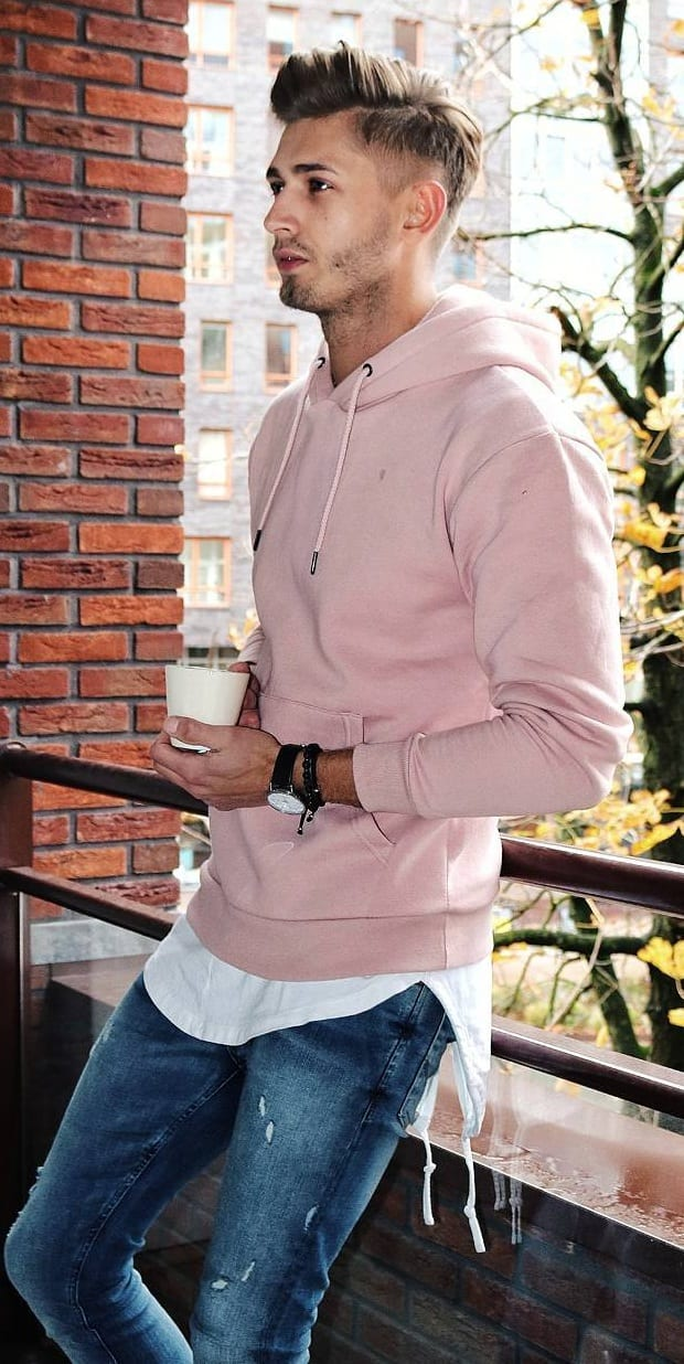 Baby Pink Hoodie- Street Style Fashion