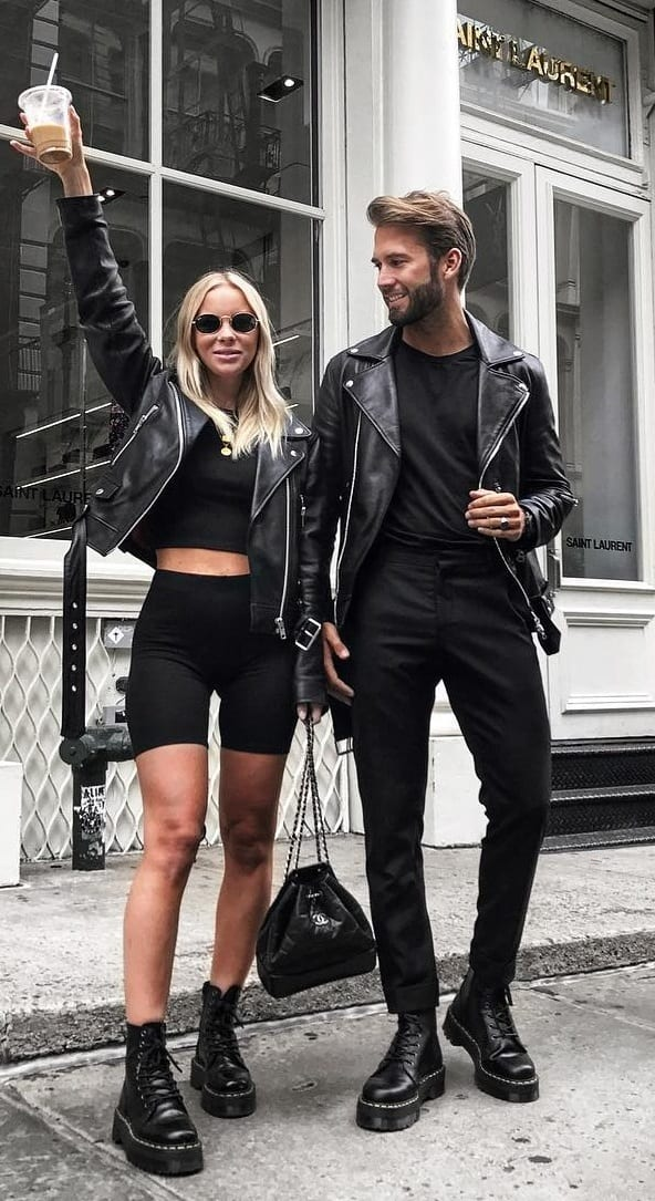 Black Color Matching Couples Street Style