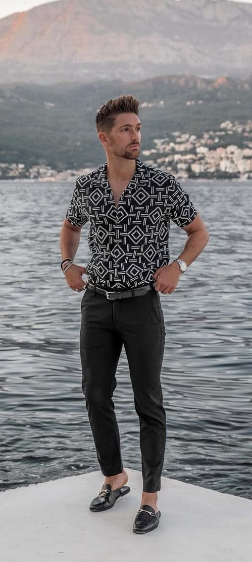 Printed Black Shirt, Black Pants, and Loafers OOTD Outfit for men