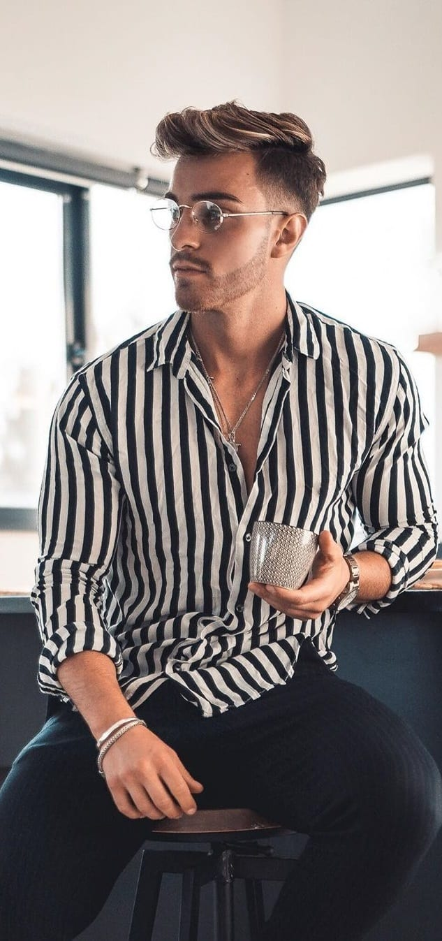 Casual Black and White Striped Shirt Outfits for men