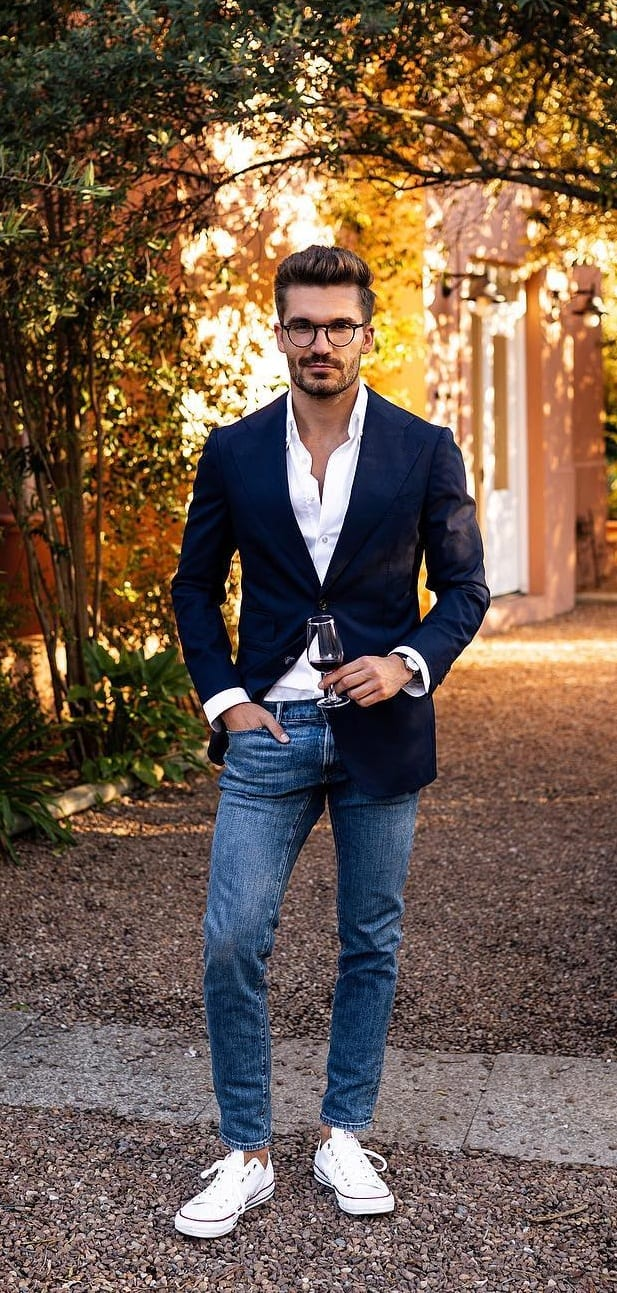 Black Blazer with Denim Outfit for men