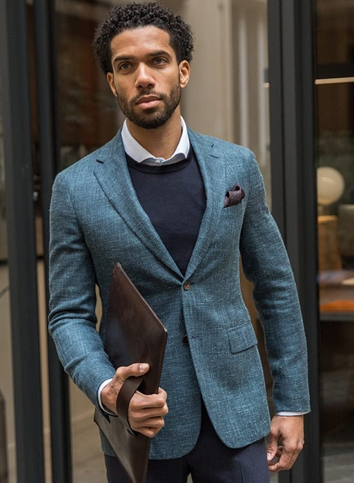 Blue Blazer Outfit for Winter Look