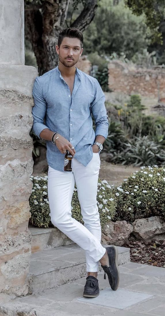 Blue Linen Shirt and White Pant Outfit for a Casual Look