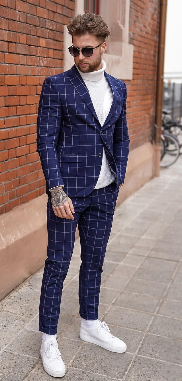 Blue Plaid Suit with White Turtleneck and Sneakers Outfit