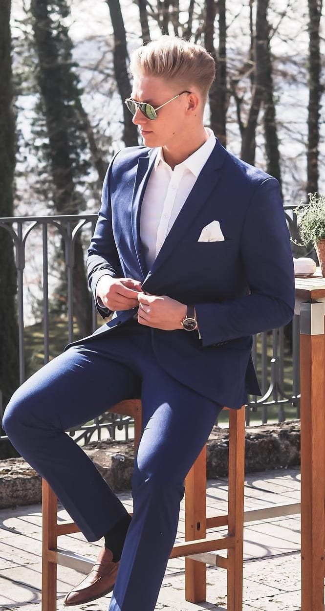 Blue suit white shirt and pocket square