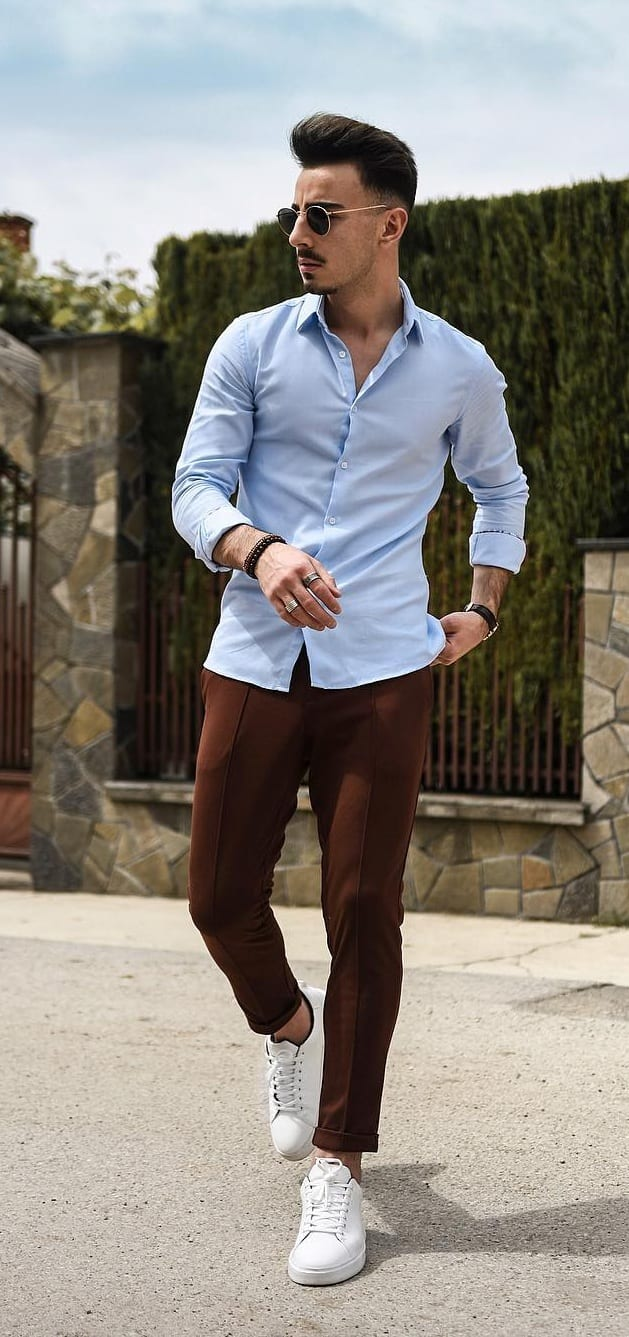 Brown Trousers and Pastel Blue Shirt Outfit