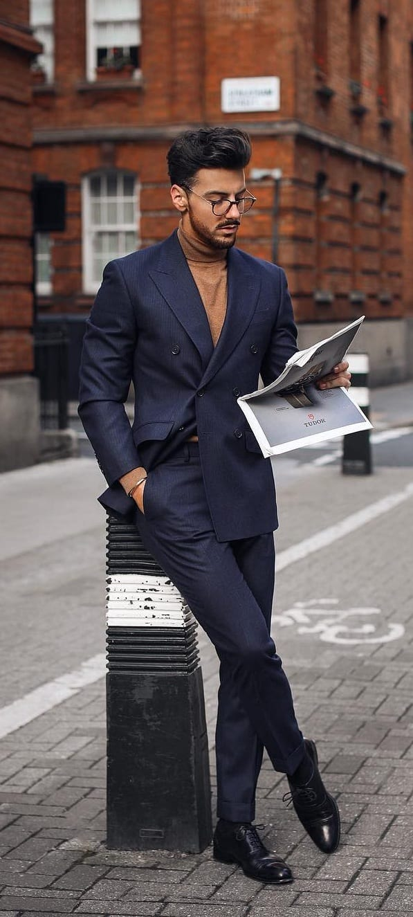 Camel Brown Turtleneck with Blue Suit Outfit ideas for men