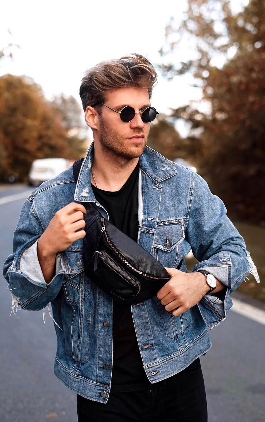 Denim Jacket Outfit with a Fanny Pack For Men's Street style