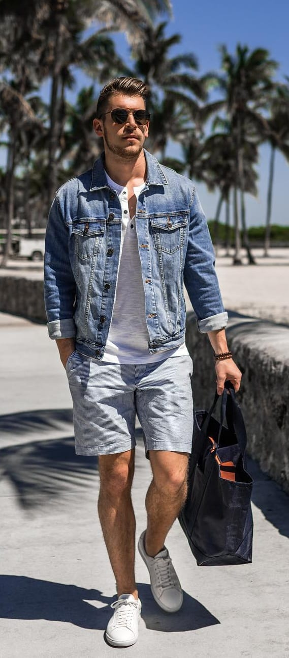 Denim Jacket with Cotton Shorts and White Undershirt Outfit for men