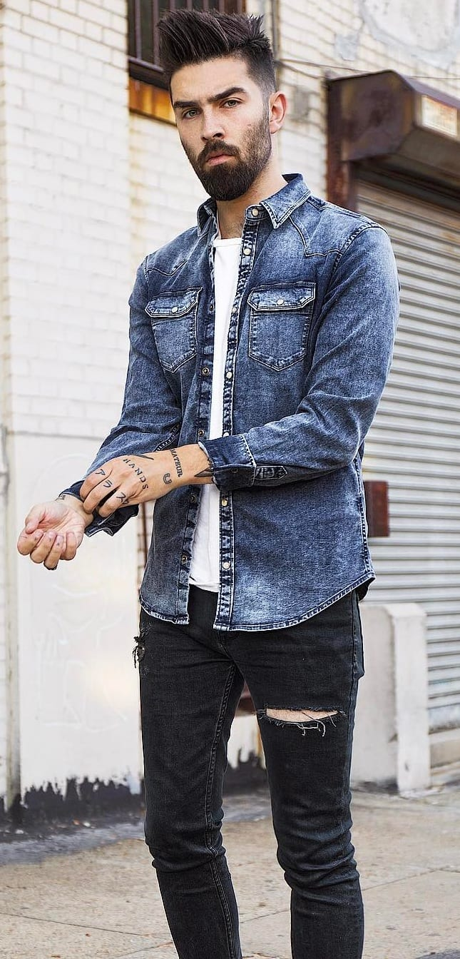 Denim Shirt and White undershirt Outfit