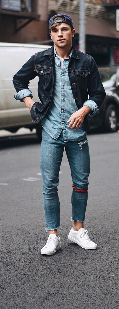 Denim Shirt,Denim Jacket,Denim Jeans Outfit for Mens Street Style