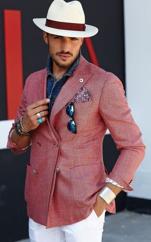 Faux Suit Style-Salmon Pink Blazer,Pocket Square and Fedora