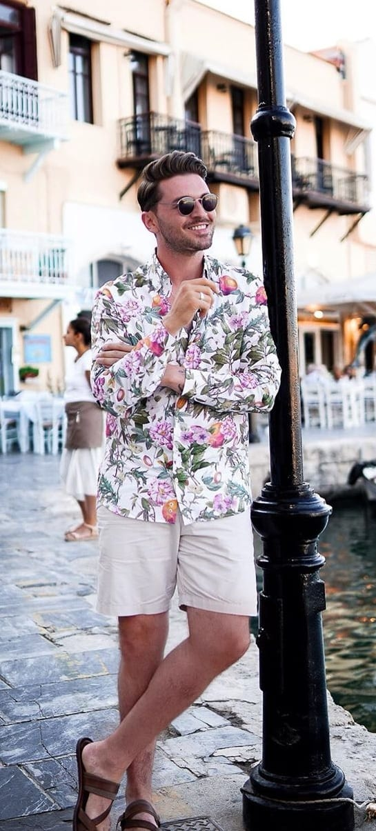 White Shorts, Floral Shirt and Slippers- OOTD for men