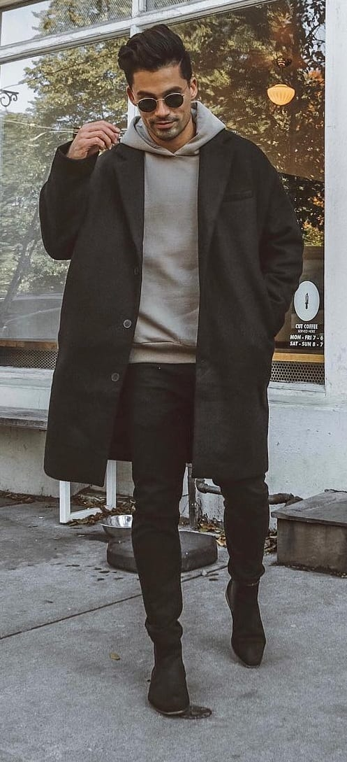 Grey Hoodie,Black Overcoat and Black Jeans- Street Style Fashion