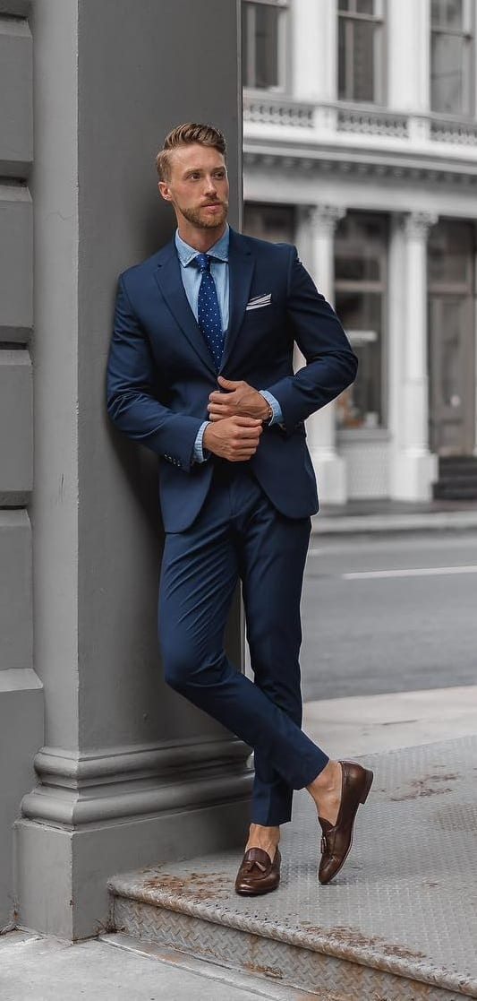 Light Blue Shirt, Blue Tie and Blue Suit Outfit ideas for men
