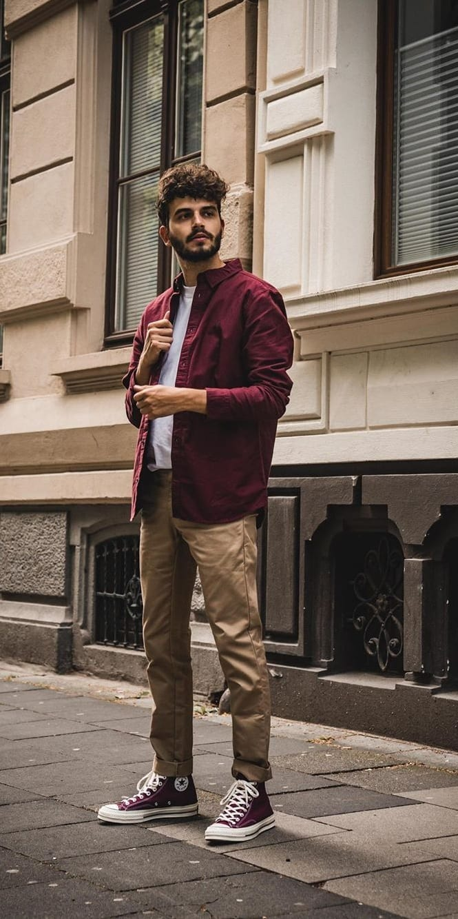 Maroon Shirt Jacket, White Undershirt, Beige Chinos and Maroon Sneakers- OOTD for men