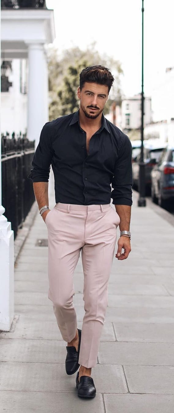 Black Shirt and Pink Trouser for Casual Office Wear