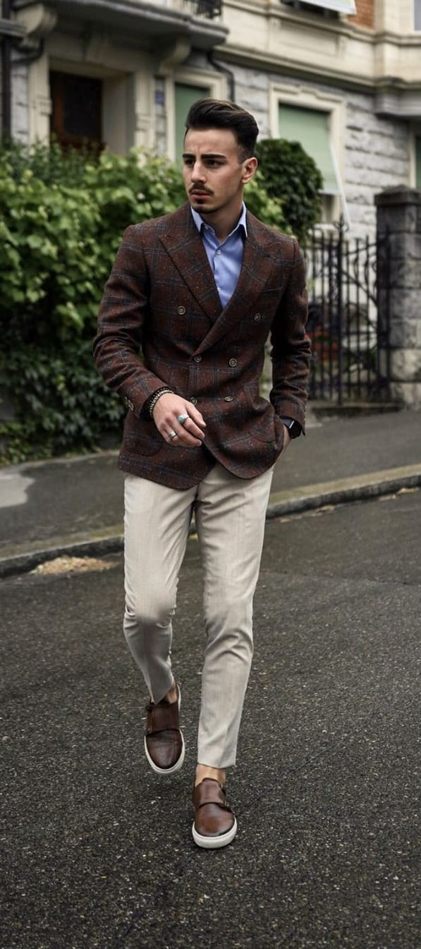 Brown Blazer and Cream Trousers work wear outfit for men