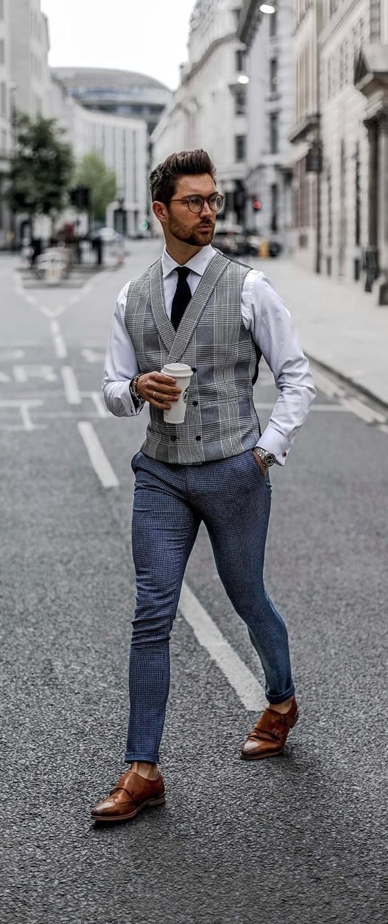 White Shirt, Grey Waistcoat, Tie and Blue Pant formal style for men