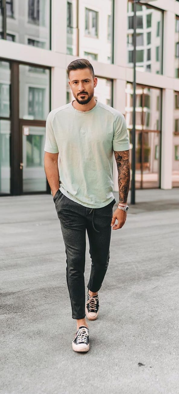 Mint Green T shirt and Black Jeans Outfit
