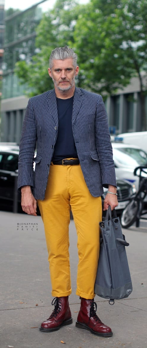 Mustard Trousers, Blue Blazer and Blue T-shirt Outfit