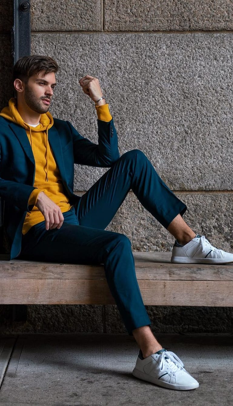 Mustard Yellow Hoodie, Blue Suit outfit for men