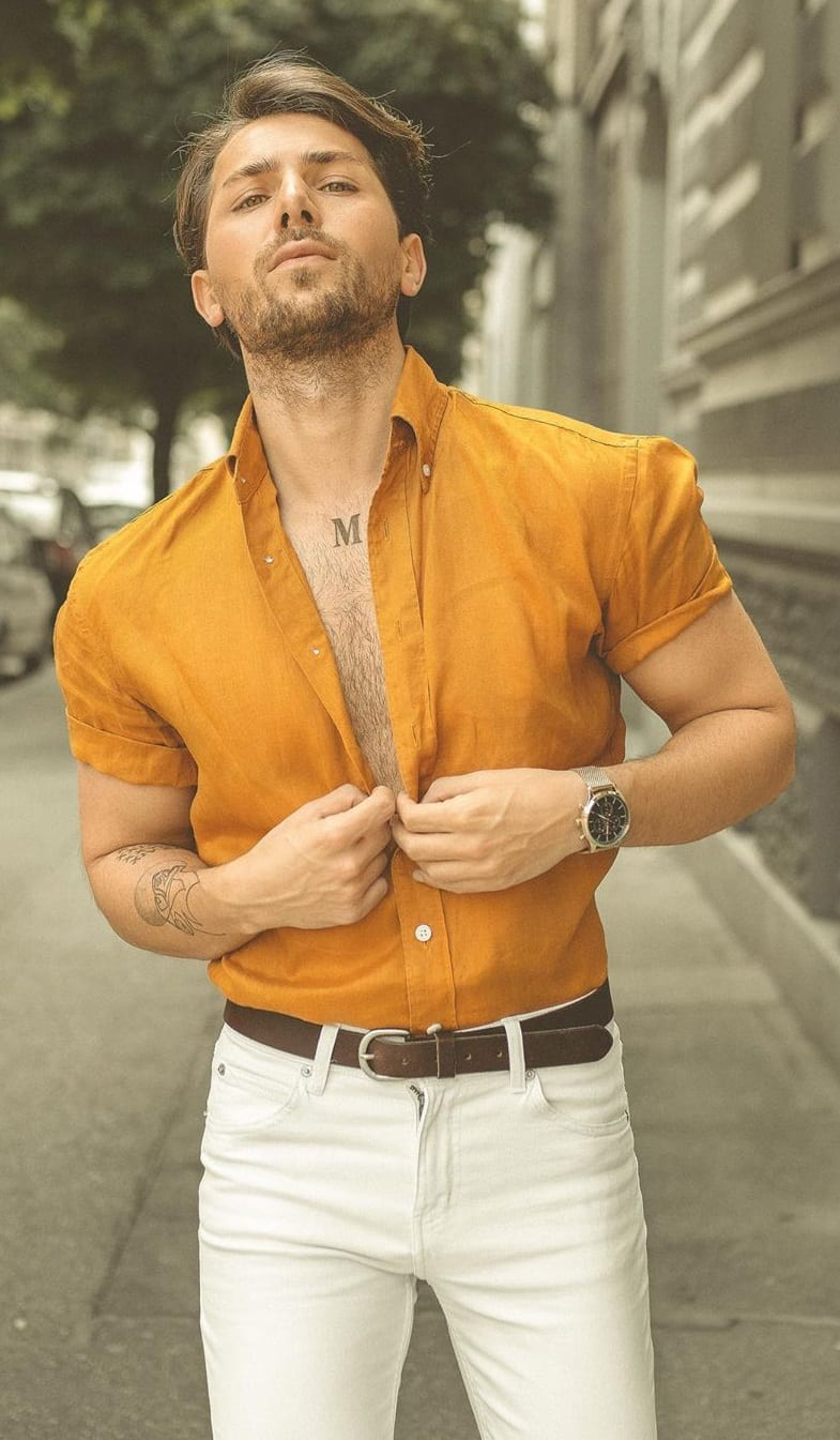 Dapper Mustard Yellow Shirt and White Pants Outfit