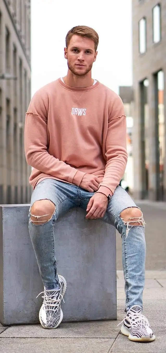 Peach Sweatshirt and Blue Ripped Jeans Outfit for men