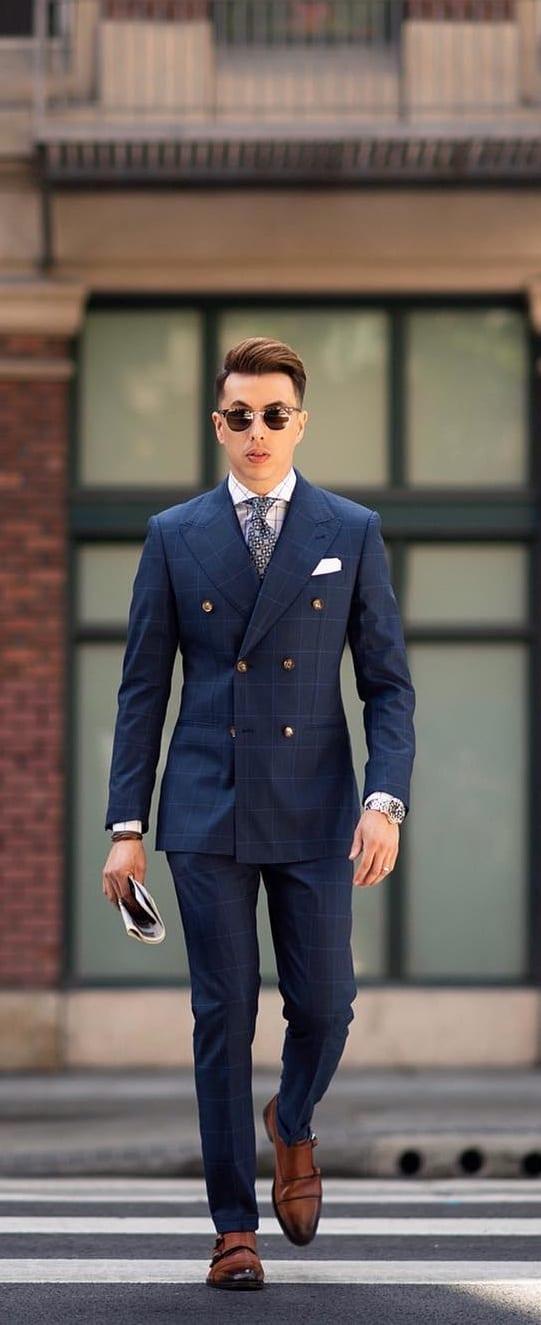 Plaid Blue Suit Outfits ideas
