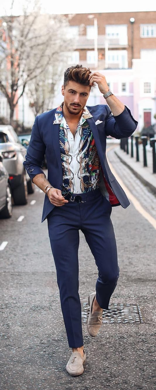 Printed White Shirt, Blue blazer and trouser outfit ideas for men