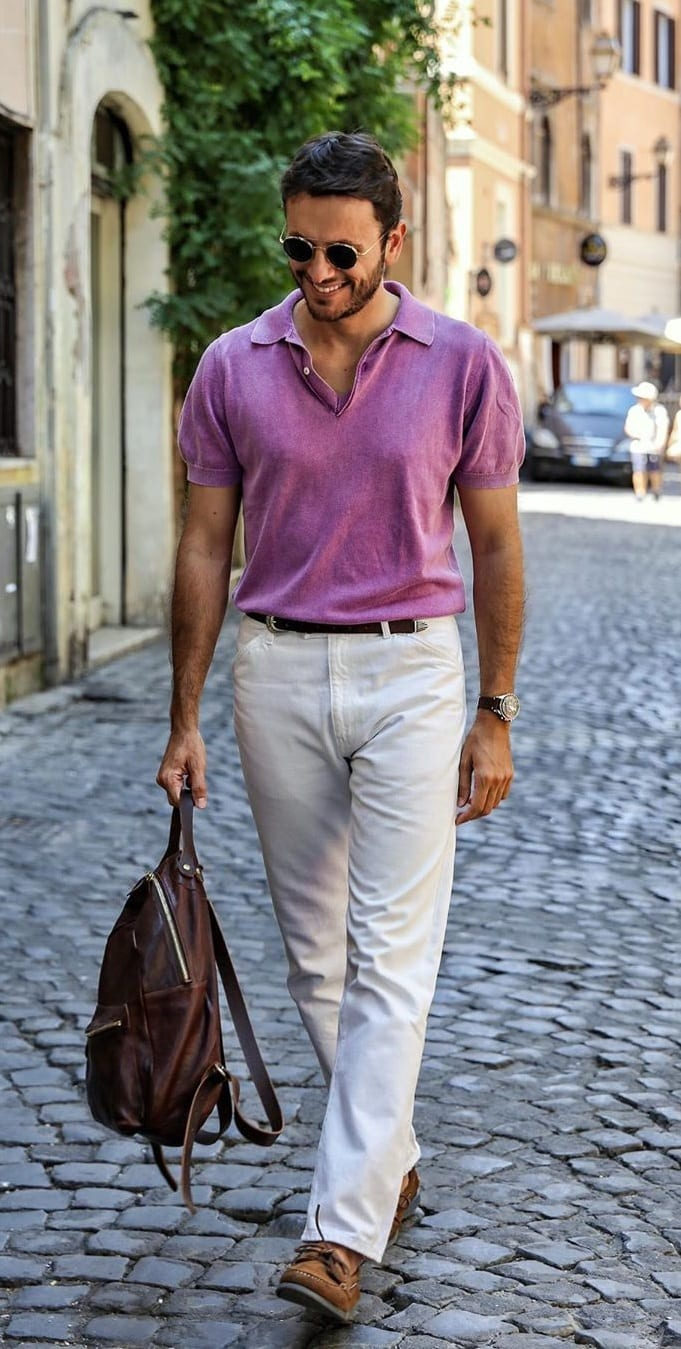 Purplish Pink Polo and White Pant- OOTD for men