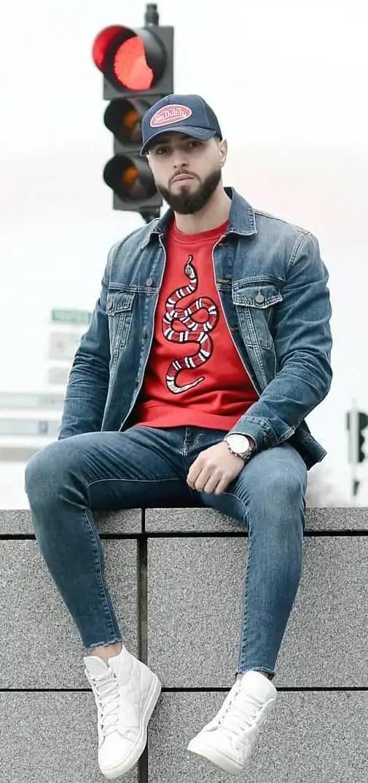 Red T-Shirt, Blue Denim Jacket and Denim Jeans- OOTD FOR MEN