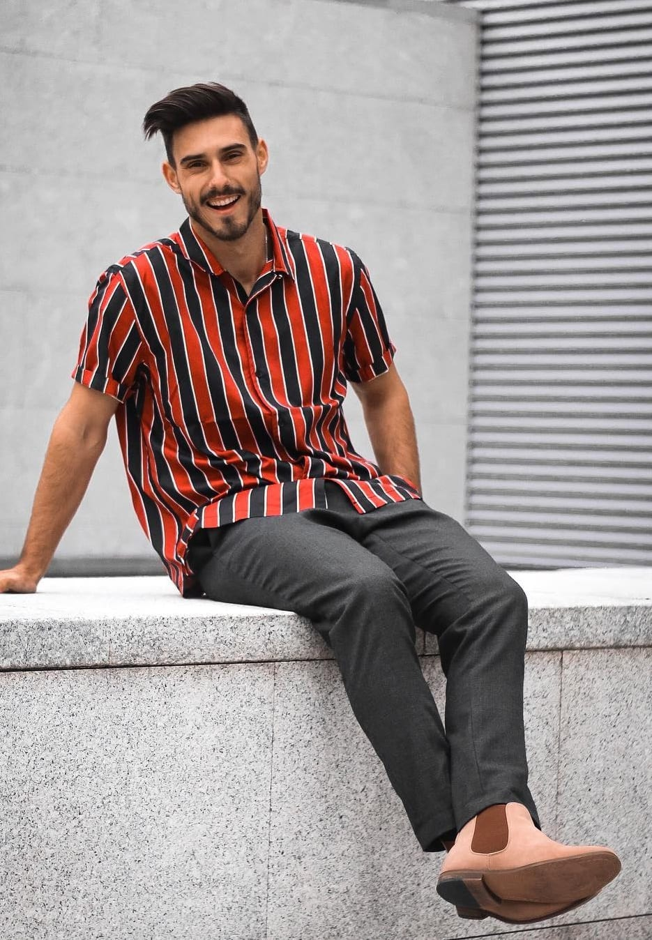 Red and Black Vertical Striped shirt Outfit