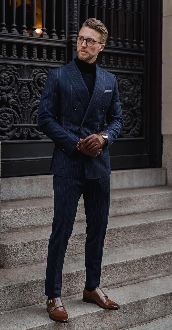 Striped Blue Suit with Black Turtleneck and Monk straps shoes