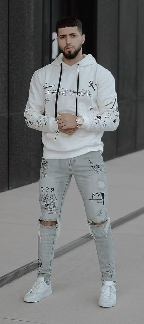 White Graffiti Hoodie and Grey Denims Outfit