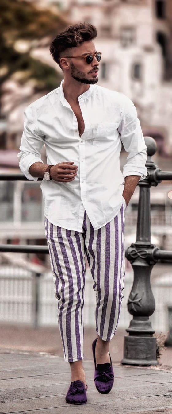 Striped Trousers,White Shirt, Purple Loafers and Sunglasses- OOTD for men