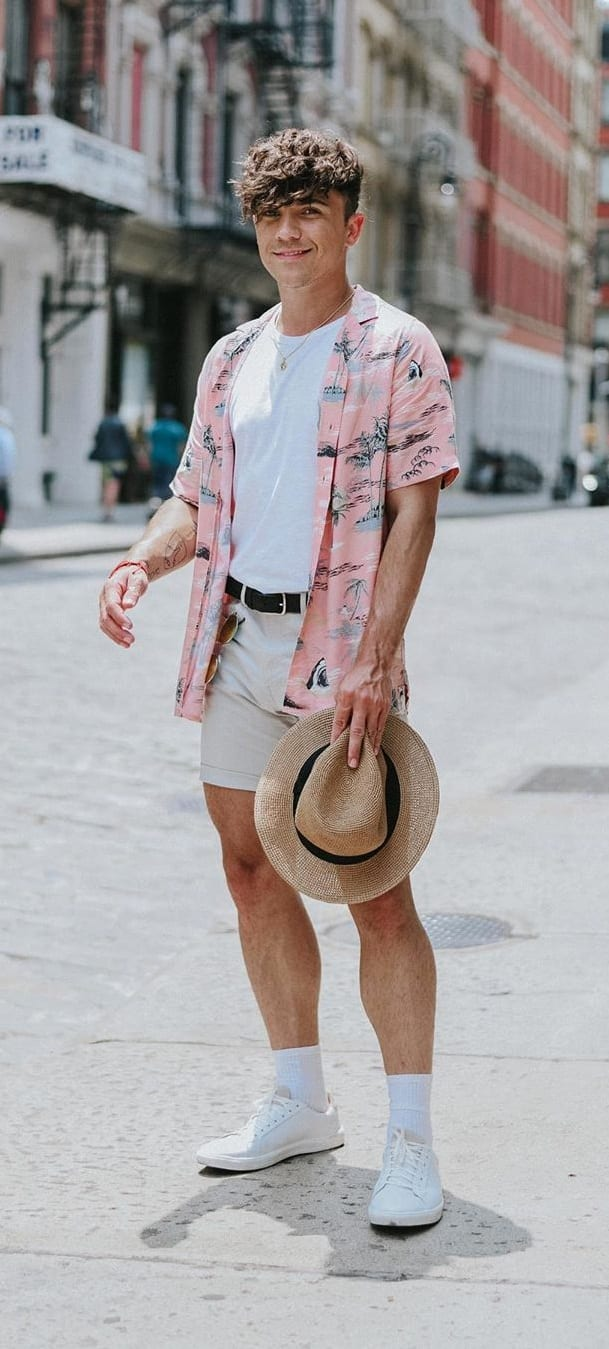 White Undershirt, Pastel Pink Printed Shirt and Shorts Outfit for men