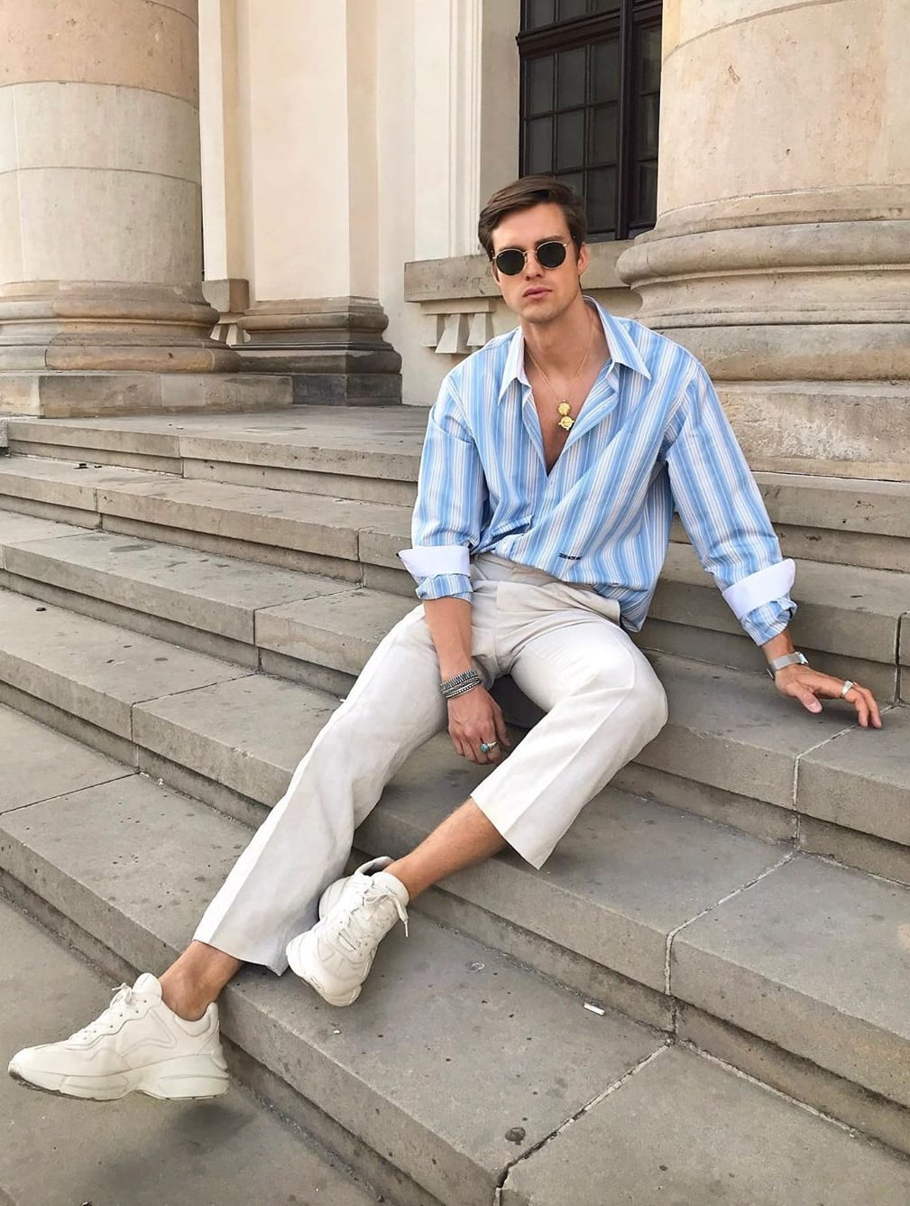Chunky White Shoes for Men's Street Style