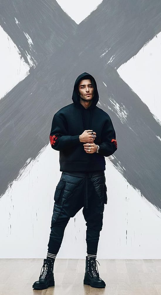 Black Hoodie,Leather Pants and Boot Outfit for men