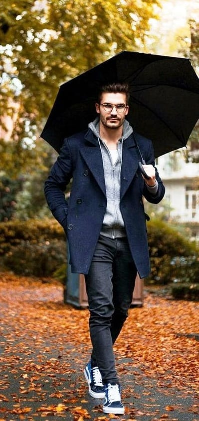Hoodie, Overcoat, Jeans Outfit with an umbrella for Fall