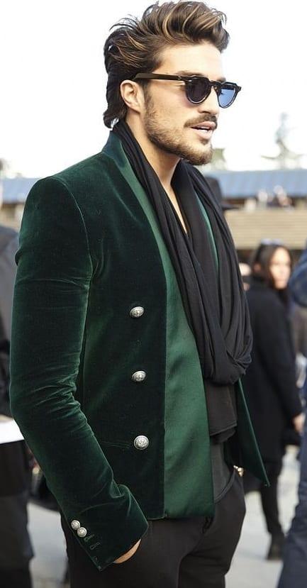 Mens Green Velvet Blazer and scarf