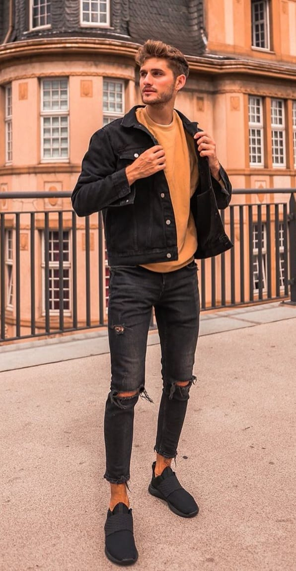 Mustard Sweatshirt,Denim Jacket and Denim jeans Outfit for fall
