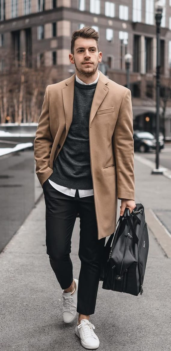 Overcoat, Sweater, Shirt and Trousers Outfit